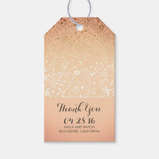 Blush and Gold Floral Vintage Wedding Thank You Gift Tags
