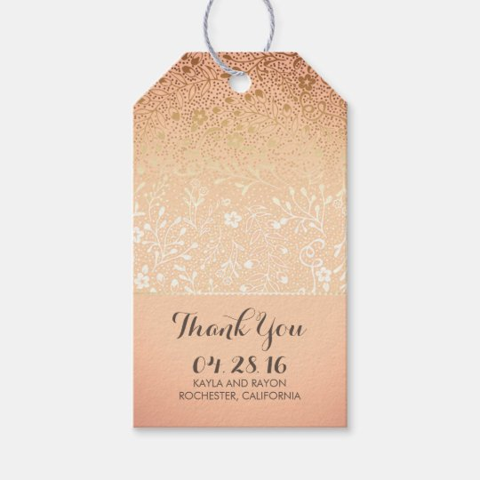 Blush and Gold Floral Vintage Wedding Thank You