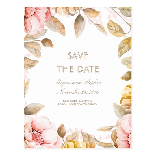 Blush and Gold Floral Watercolors Save the Date