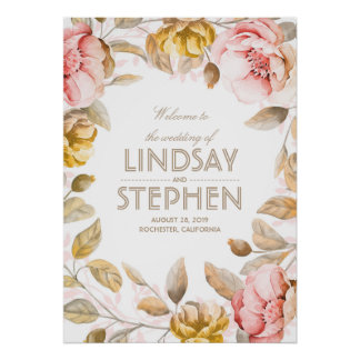 Blush and Gold Flowers Watercolor Wedding Sign Poster