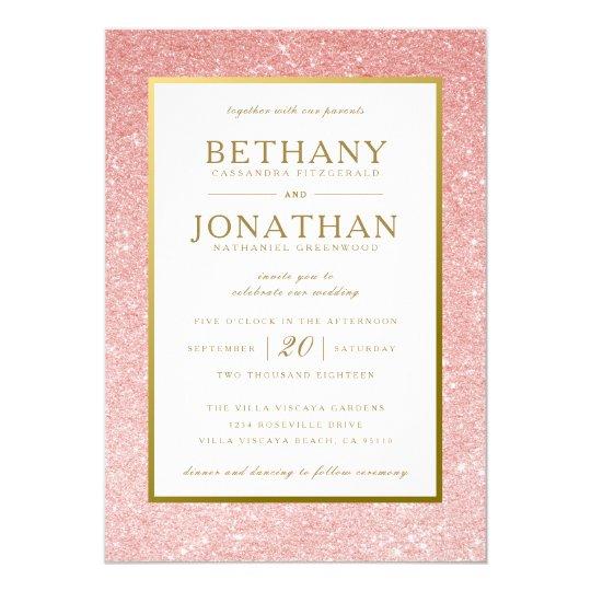 Blush and Gold Glitter Wedding Invitation