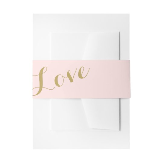 Blush and Gold Love Wedding Invitation Belly Band