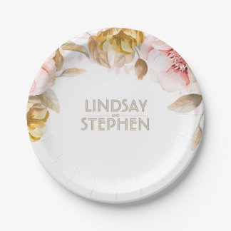 Blush and Gold Watercolor Floral Bouquet Wedding Paper Plate