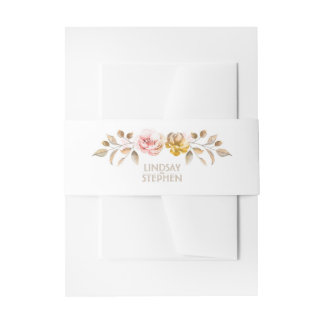 Blush and Gold Watercolor Flowers Elegant Wedding Invitation Belly Band