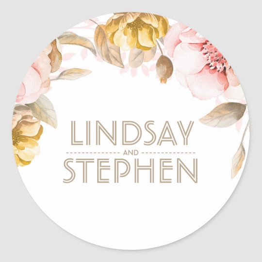 Blush and Gold Watercolor Flowers Elegant Wedding Round