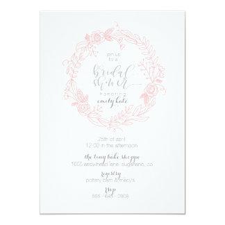 Blush and grey flower bridal shower invitation