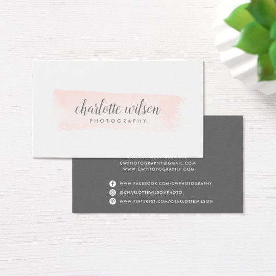 Blush and Grey Logo Business Card