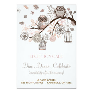 Blush and Grey Owls Wedding Reception Card