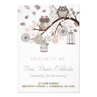 Blush and Grey Owls Wedding Reception Card