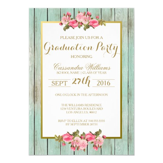 Blush and Mint Graduation Party Floral Invitation