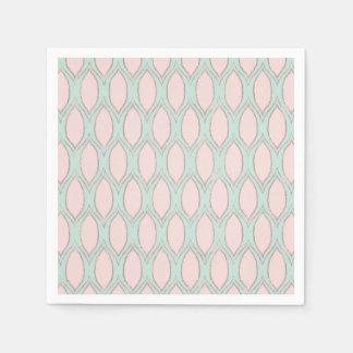Blush and Mint Modern Geometric Pattern Disposable Napkins