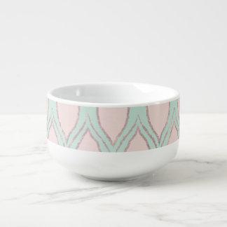 Blush and Mint Modern Geometric Pattern Soup Mug