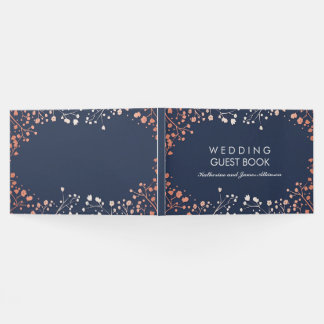 Blush and Navy Floral Baby's Breath Wedding Guest Book