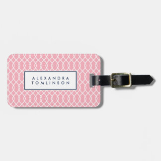 Blush and Navy Lattice Pattern Luggage Tag