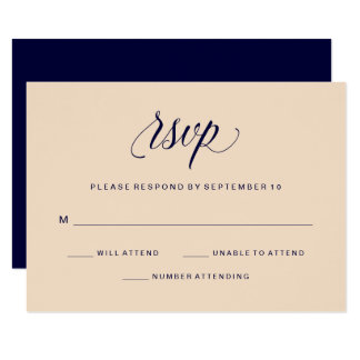 Blush and Navy Typography | RSVP Card