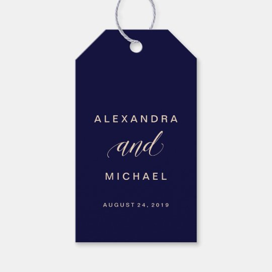 Blush and Navy Typography Wedding Favour Gift Tags