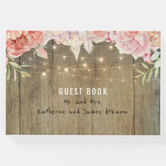 Blush and Pink Flowers Rustic String Lights Wood Guest Book