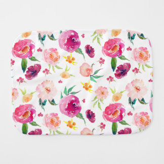 Blush and Pink Watercolor Peonies Pattern Burp Cloth