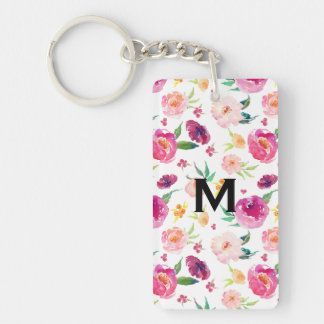 Blush and Pink Watercolor Peonies Pattern Monogram Key Ring