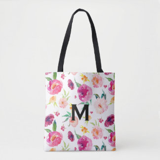 Blush and Pink Watercolor Peonies Pattern Monogram Tote Bag