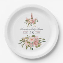 Blush and Rose Gold Floral Unicorn Baby Shower Paper Plate