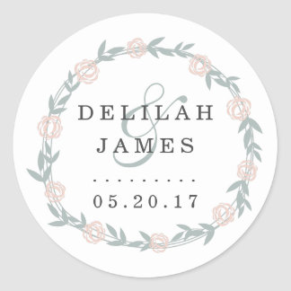 Blush and Sage Botanical Floral Wedding Classic Round Sticker