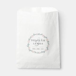 Blush and Sage Botanical Floral Wedding Favour Bags