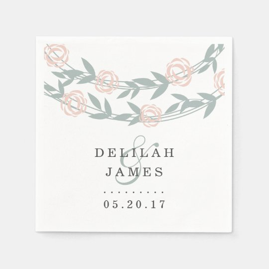 Blush and Sage Botanical Floral Wedding Paper Napkin