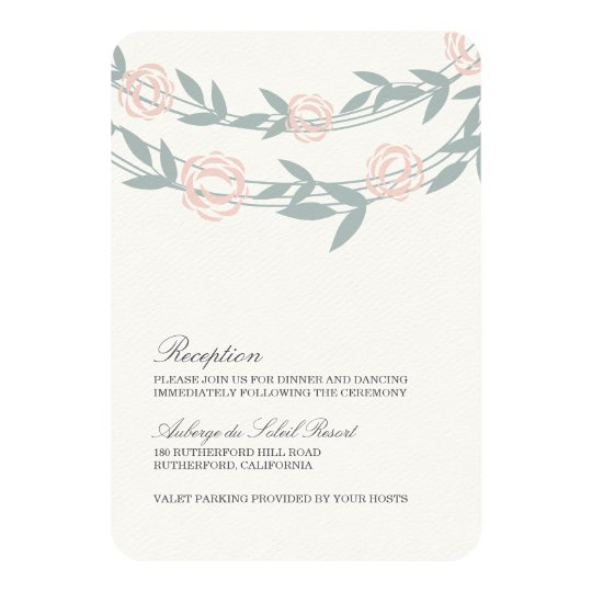 Blush and Sage Botanical Wedding Reception Card