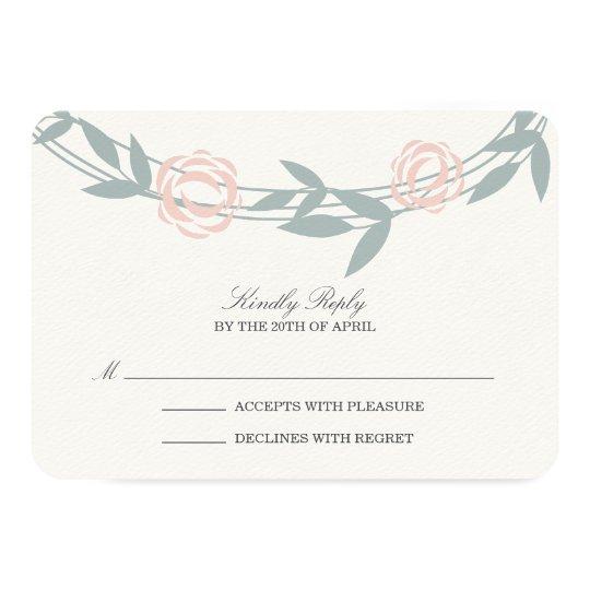 Blush and Sage Botanical Wedding RSVP Response Card