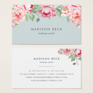 Blush and Sage Watercolor Peony Business Card