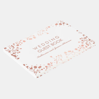 Blush and White Floral Baby's Breath Wedding Guest Book