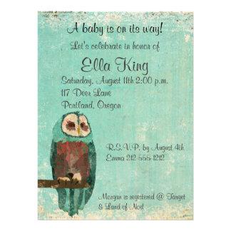 Blush & Azure Owl Baby Invitation