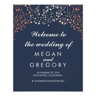 Blush Baby's Breath Navy Wedding Welcome Sign