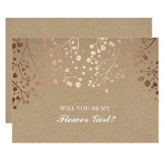 Blush Baby's Breath Wedding Flower Girl Invitation