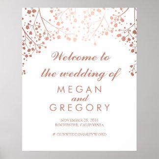 Blush Baby's Breath Wedding Welcome Sign