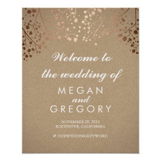 Blush Baby's Breath Wedding Welcome Sign Coral Poster