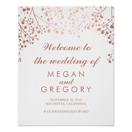 Blush Baby's Breath Wedding Welcome Sign Poster