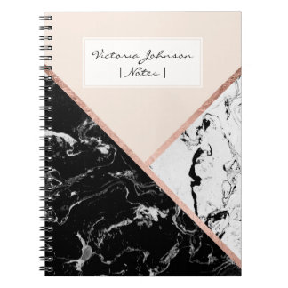 Blush black white marble rose gold color block notebook