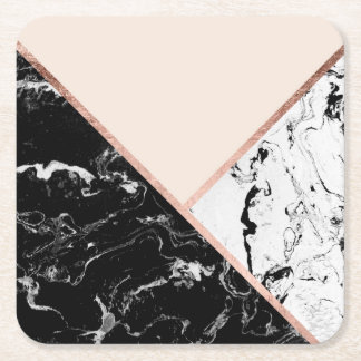 Blush black white marble rose gold color block square paper coaster