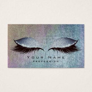 Blush Blue Denim Paint Lashes Makeup Eyes Glitter Business Card