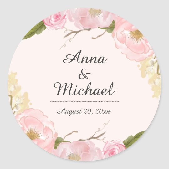 Blush Botanical Floral Wedding Stickers