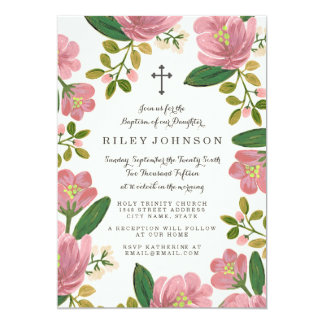 Blush Bouquet Baptism Card