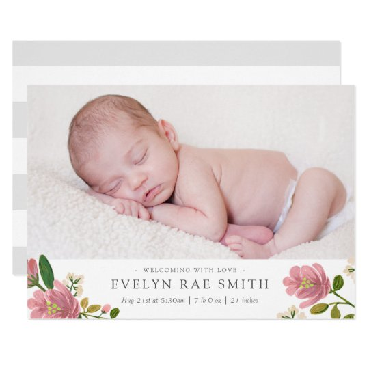 Blush Bouquet Birth Announcement