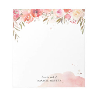 Blush Bouquet Personalized Name Monogram Notepad