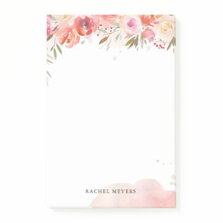 Blush Bouquet Personalized Name Monogram Post-it Notes