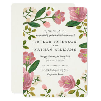 Blush Bouquet Wedding Invitations
