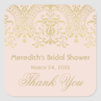 Blush Bridal Shower Sticker | Gold Vintage Glamour