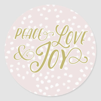 Blush & Bronze Peace Love Joy | Holiday Stickers
