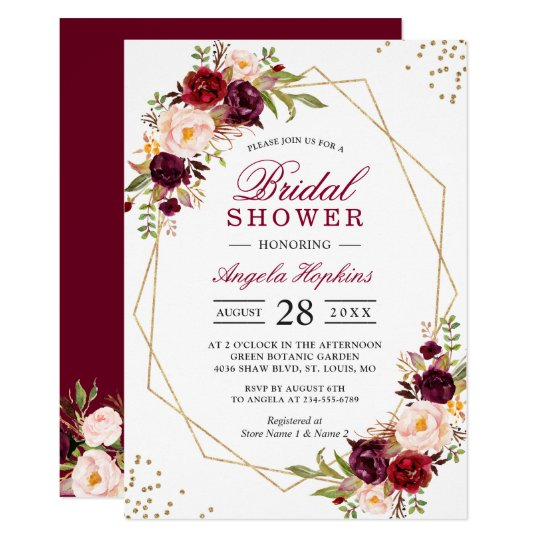 Blush burgundy floral gold frame bridal shower invitation zazzle blush burgundy floral gold frame bridal shower invitation filmwisefo